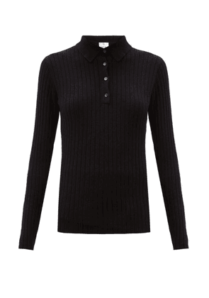 Allude - Ribbed Cashmere Polo Sweater - Womens - Black