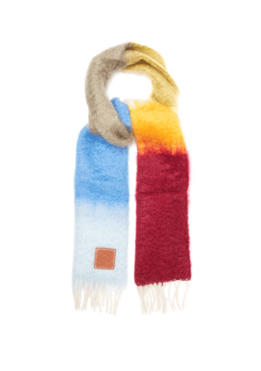 Loewe - Striped Brushed Mohair And Wool Scarf - Mens - Multi