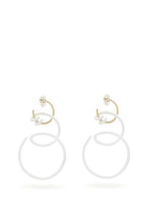 Bea Bongiasca - Double Curl Vine Crystal & 9kt Gold Earrings - Womens - White Gold