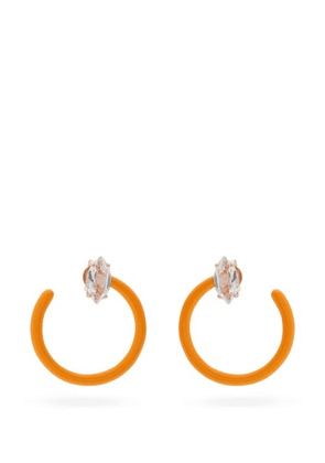 Bea Bongiasca - Tendril Crystal, Rose-gold & Enamel Hoop Earrings - Womens - Orange Multi