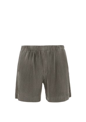 Homme Plissé Issey Miyake - Pleated-gingham Shorts - Mens - Black