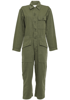 Current/elliott The Richland Cotton And Linen-blend Jumpsuit Woman Army green Size 0