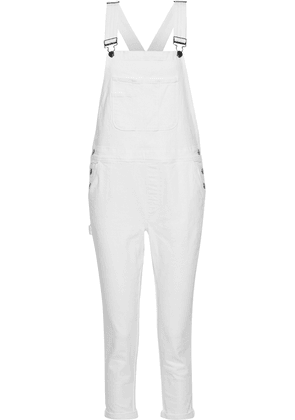 Frame Le Garcon Cropped Denim Overalls Woman White Size M