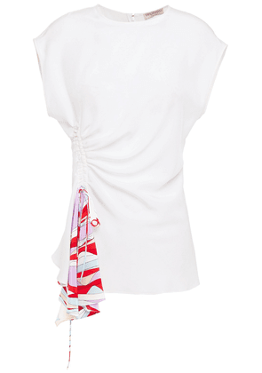 Emilio Pucci Paneled Ruched Silk Crepe De Chine Top Woman White Size 40