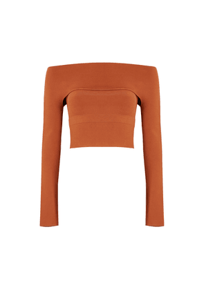 Dion Lee Dull Terracotta Stretch-knit Top