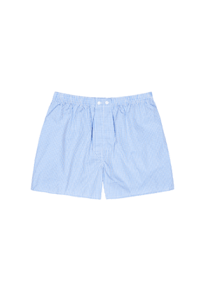 Derek Rose Gingham 1 Blue Cotton Boxer Shorts