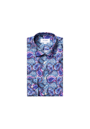 Eton Contemporary Fit Blue Painted Paisley Shirt