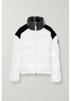 Moncler - Chouelle Velvet-trimmed Printed Quilted Glossed-shell Down Jacket - White