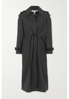 Fendi - Belted Suede-trimmed Checked Wool Coat - Gray