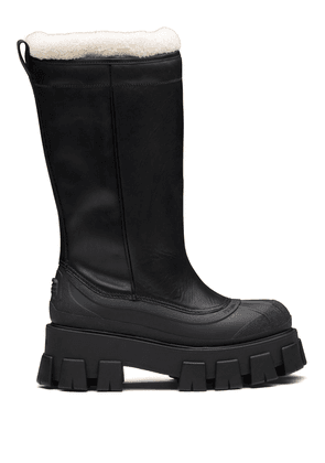 Prada Monolith shearling-lined boots - Black