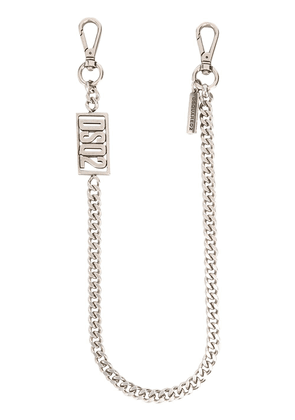 Dsquared2 logo plaque keyring chain - SILVER