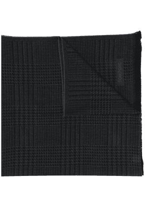 Tom Ford houndstooth check fine knit wool scarf - Black