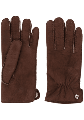 Lardini suede shearling gloves - Brown