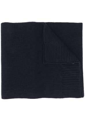 Moncler logo patch ribbed scarf - Blue