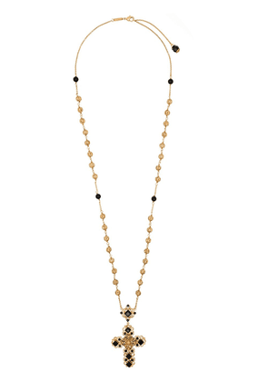 Dolce & Gabbana stone-embellished cross necklace - GOLD