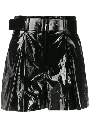 MSGM shiny faux-leather shorts - Black