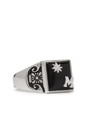 MAPLE - Collegiate Burnished Sterling Silver and Onyx Ring - Men - Silver