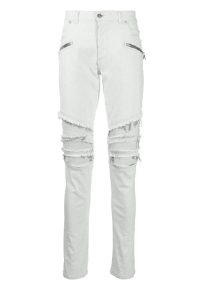 Balmain ribbed knees ripped skinny jeans - White