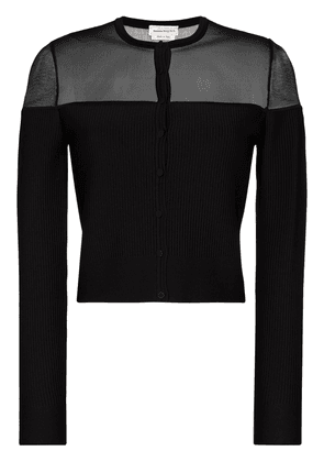 Alexander McQueen sheer-panelled fine-knit cardigan - Black