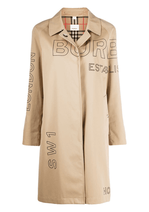Burberry logo print trench coat - Neutrals