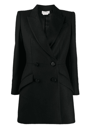 Alexander McQueen double-breasted cape-accent blazer - Black