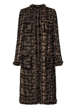 Dolce & Gabbana bouclé tweed mid-length coat - Brown