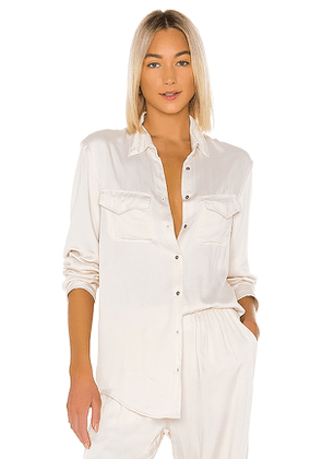 Indah Emma Solid Long Sleeve Button Up Shirt in Ivory. Size S/M,XS/S.