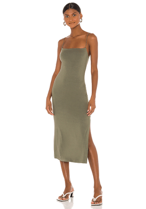 Enza Costa X REVOLVE Strappy Side Slit Dress in Green. Size S,M,L.
