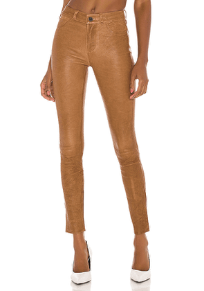 PAIGE Hoxton Leather Ultra Skinny in Brown. Size 26.