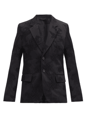 Ann Demeulemeester - Single-breasted Embroidered Wool-blend Jacket - Mens - Black