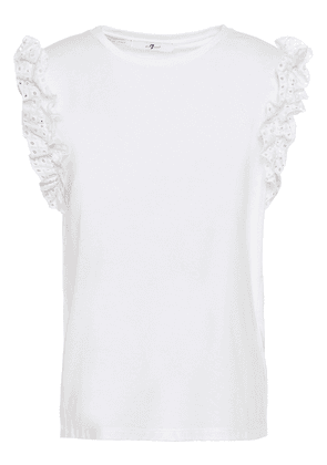 7 For All Mankind Ruffled Broderie Anglaise-trimmed Cotton-jersey Top Woman White Size L