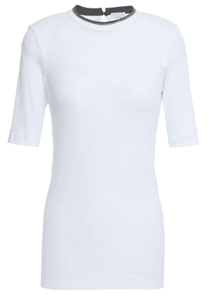 Brunello Cucinelli Bead-embellished Ribbed Cotton-blend Jersey T-shirt Woman Silver Size L