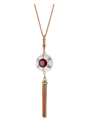 Selim Mouzannar 18kt rose gold double sided rhodolite and diamond