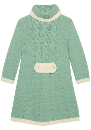 Gucci short wool dress with floral brooch - Green