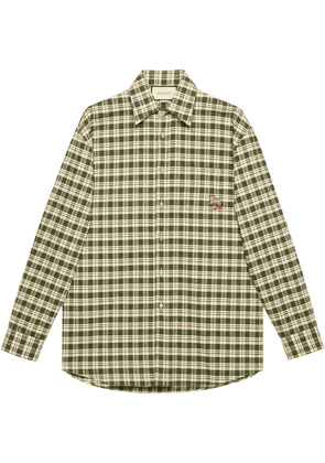 Gucci cat-patch checked shirt - Green
