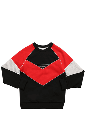 Color Block Cotton Blend Sweatshirt