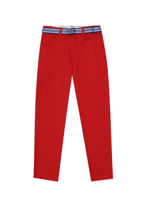 Belted stretch-cotton pants