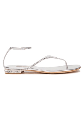 Casadei Flash Crystal-embellished Metallic Leather Sandals Woman Silver Size 36