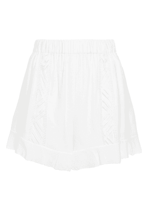 Iro Guipure Lace-trimmed Modal-blend Crepe Shorts Woman White Size 40