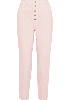 J Brand Heather Cropped High-rise Tapered Jeans Woman Pastel pink Size 29