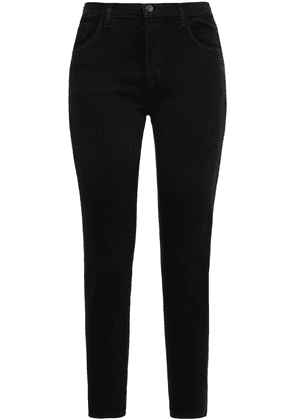 J Brand 835 Cropped Glittered Mid-rise Skinny Jeans Woman Black Size 24