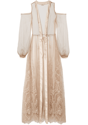 I.d. Sarrieri Mystére De Minuit Satin-trimmed Metallic Embroidered Tulle Robe Woman Neutral Size 2