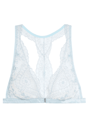 I.d. Sarrieri Célestine Embroidered Tulle And Satin Soft-cup Triangle Bra Woman Sky blue Size 34 B