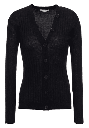 Joie Brinleigh Metallic-trimmed Ribbed Wool And Silk-blend Cardigan Woman Black Size M