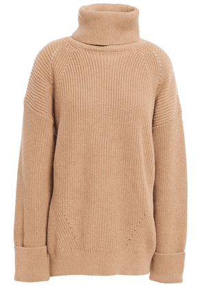 Joie Ribbed Cotton And Cashmere-blend Turtleneck Sweater Woman Light brown Size S