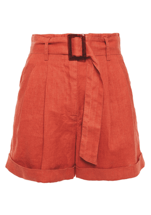 Iris & Ink Dalea Belted Linen Shorts Woman Tomato red Size 4