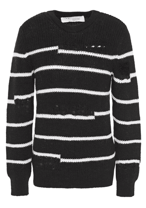 Iro Distressed Striped Ribbed-knit Sweater Woman Black Size S