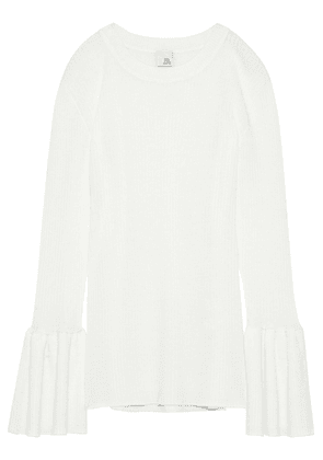 Iris & Ink Sloane Ribbed Wool Top Woman Off-white Size M