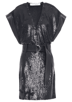 Iro Leather-trimmed Belted Sequined Crepe Dress Woman Black Size 38