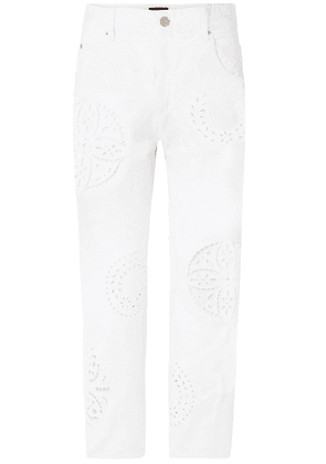 Isabel Marant Ronny Broderie Anglaise-trimmed High-rise Straight-leg Jeans Woman White Size 36